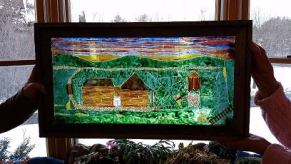 Scene of my sister's home near Clearfield, PA made from cut and painted glass
