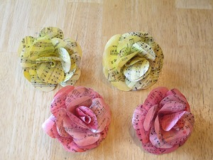 Paper Roses from old hymnal pages