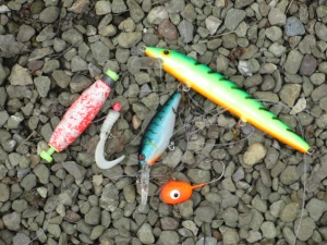 Some lures found at Pymatuning Lake, including the maggot lure.