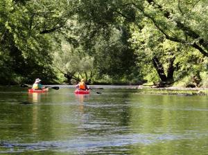 Kayaking on the Shenango River, flowing from Pymatuning Lake. That's me on the left in the floppy hat.